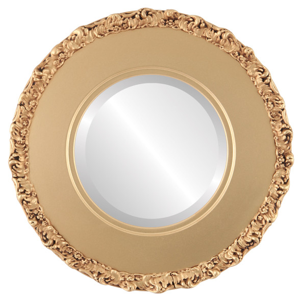 Beveled Mirror - Williamsburg Round Frame - Gold Spray