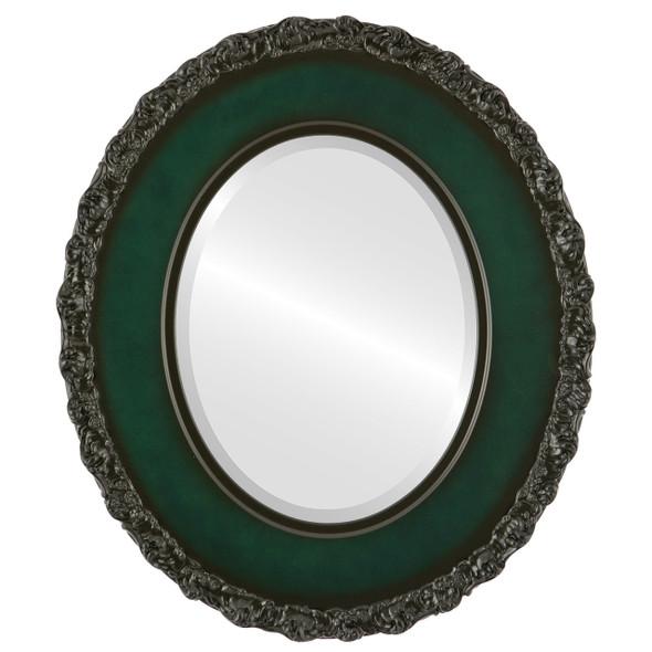 Beveled Mirror - Williamsburg Oval Frame - Hunter Green