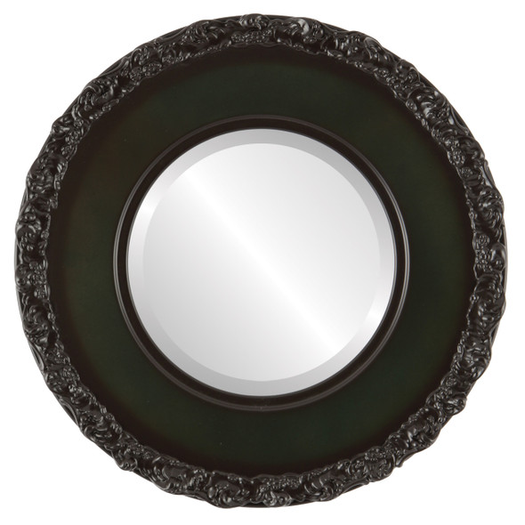 Beveled Mirror - Williamsburg Round Frame - Hunter Green
