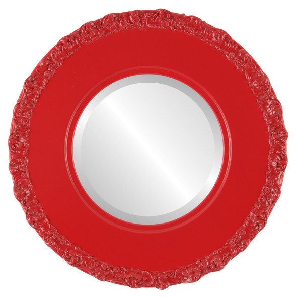 Beveled Mirror - Williamsburg Round Frame - Holiday Red