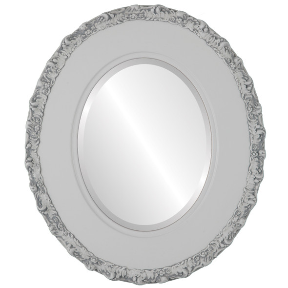 Beveled Mirror - Williamsburg Oval Frame - Linen White