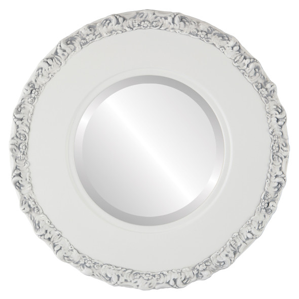 Beveled Mirror - Williamsburg Round Frame - Linen White