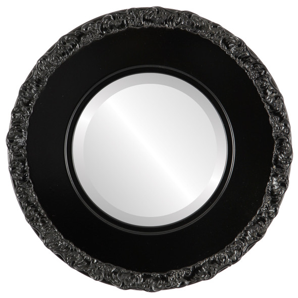 Beveled Mirror - Williamsburg Round Frame - Matte Black