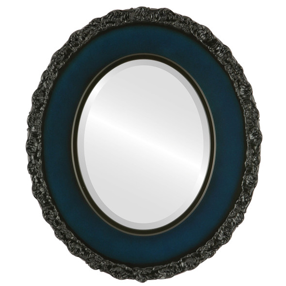 Beveled Mirror - Williamsburg Oval Frame - Royal Blue