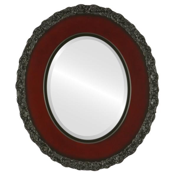 Beveled Mirror - Williamsburg Oval Frame - Rosewood