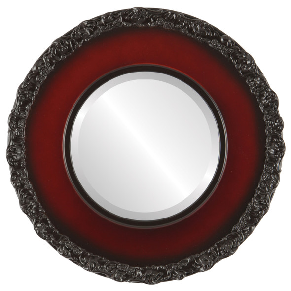 Beveled Mirror - Williamsburg Round Frame - Rosewood