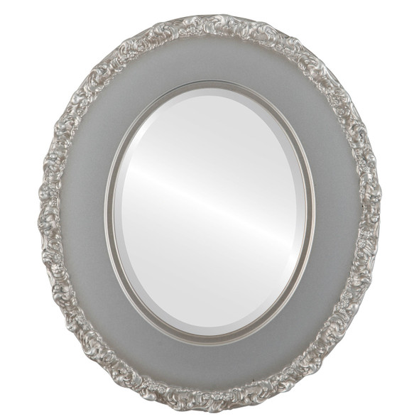 Beveled Mirror - Williamsburg Oval Frame - Silver Shade
