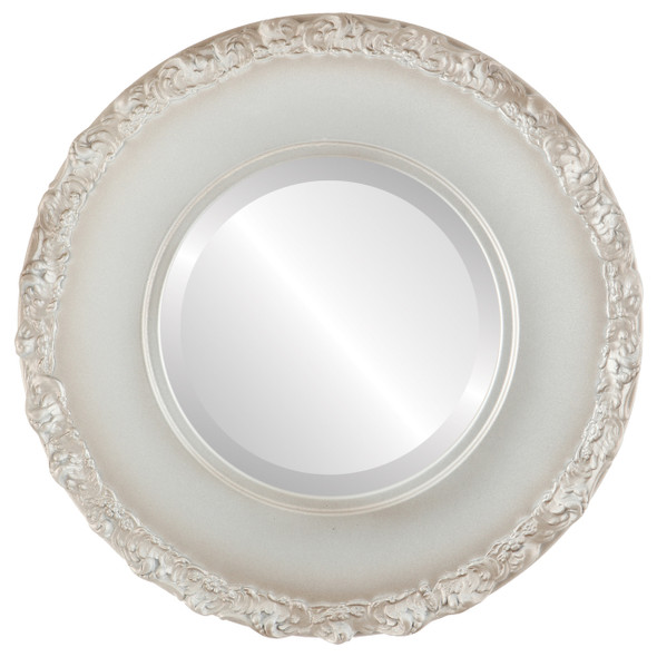 Beveled Mirror - Williamsburg Round Frame - Silver Shade