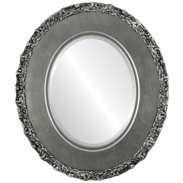 Beveled Mirror - Williamsburg Oval Frame - Silver Leaf with Black Antique