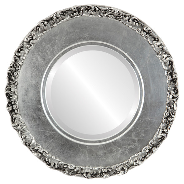 Beveled Mirror - Williamsburg Round Frame - Silver Leaf with Black Antique