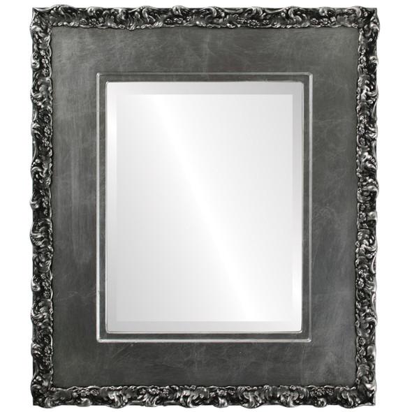 Beveled Mirror - Williamsburg Rectangle Frame - Silver Leaf with Black Antique
