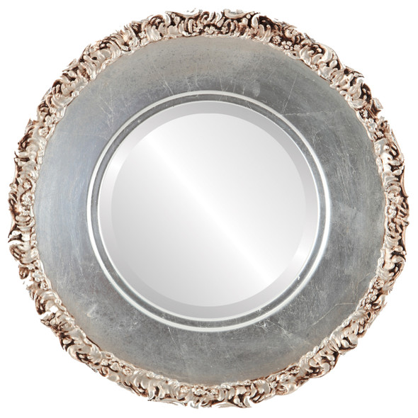 Beveled Mirror - Williamsburg Round Frame - Silver Leaf with Brown Antique
