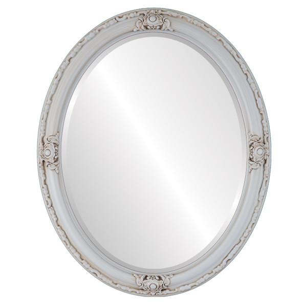 Beveled Mirror - Jefferson Oval Frame - Antique White