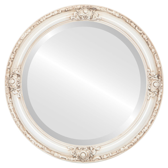 Beveled Mirror - Jefferson Round Frame - Antique White