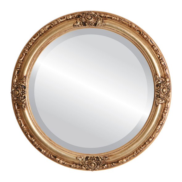 Beveled Mirror - Jefferson Round Frame - Antique Gold Leaf