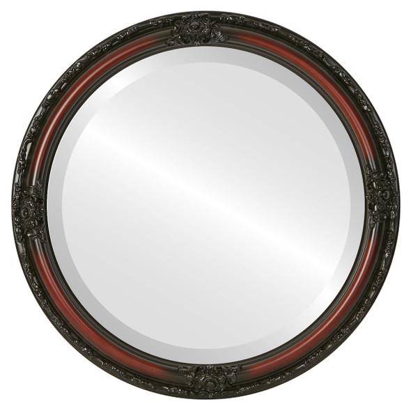 Beveled Mirror - Jefferson Round Frame - Rosewood