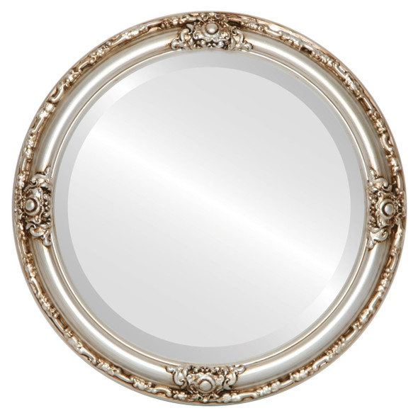 Beveled Mirror - Jefferson Round Frame - Silver