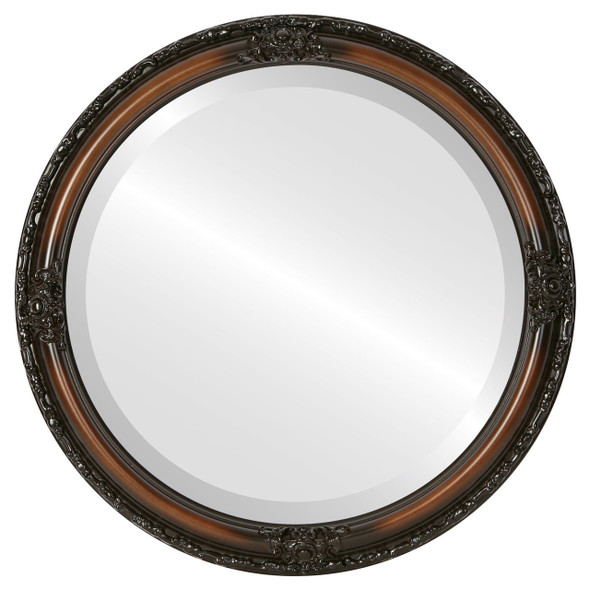 Beveled Mirror - Jefferson Round Frame - Walnut