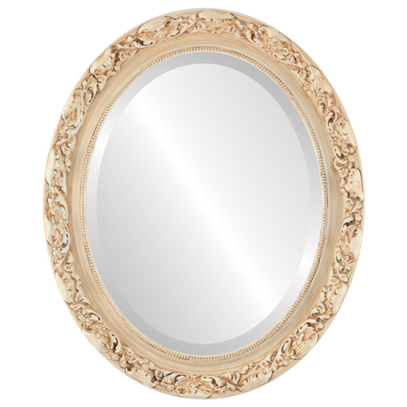 Beveled Mirror - Rome Oval Frame - Antique White