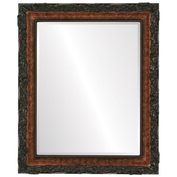 Beveled Mirror - Rome Rectangle Frame - Burlwood