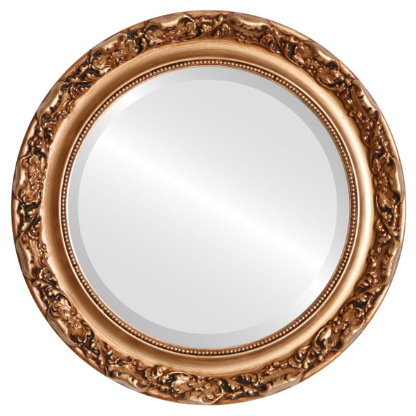 Beveled Mirror - Rome Round Frame - Gold Paint