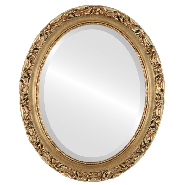 Beveled Mirror - Rome Oval Frame - Antique Gold Leaf