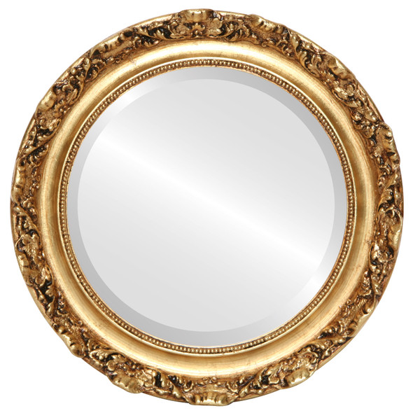 Beveled Mirror - Rome Round Frame - Antique Gold Leaf