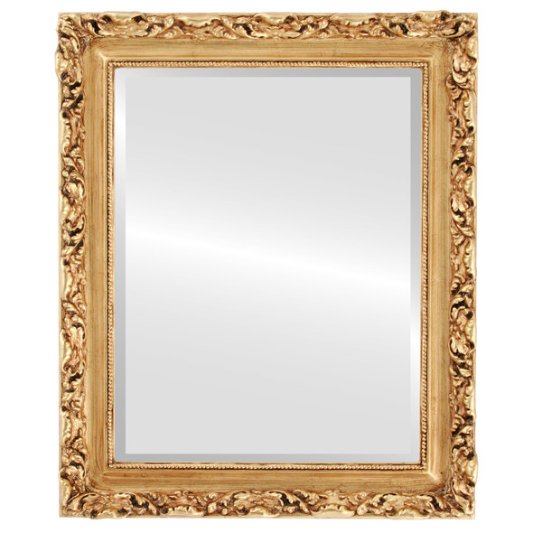 Beveled Mirror - Rome Rectangle Frame - Antique Gold Leaf