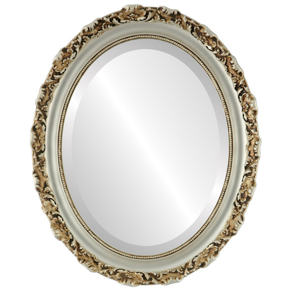 Beveled Mirror - Rome Oval Frame - Silver