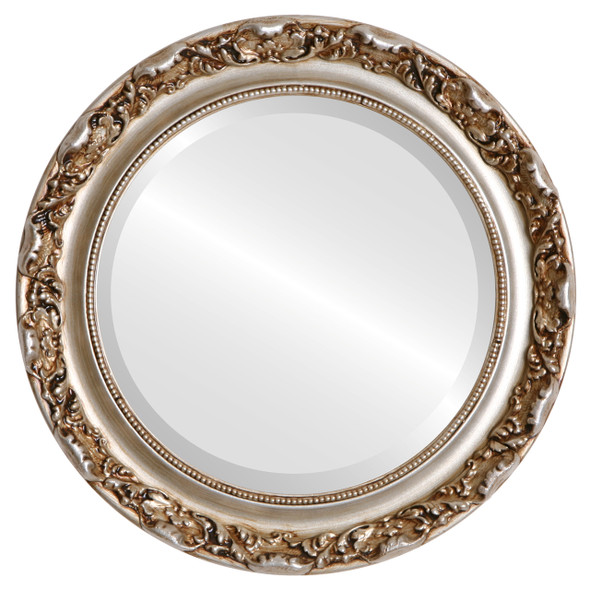 Beveled Mirror - Rome Round Frame - Silver