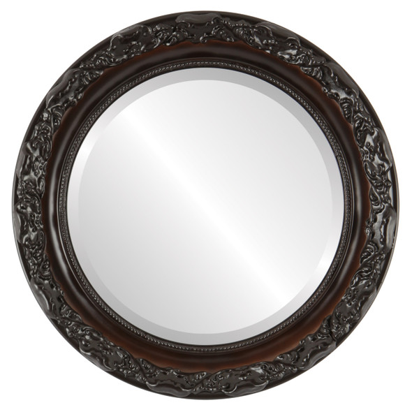 Beveled Mirror - Rome Round Frame - Walnut