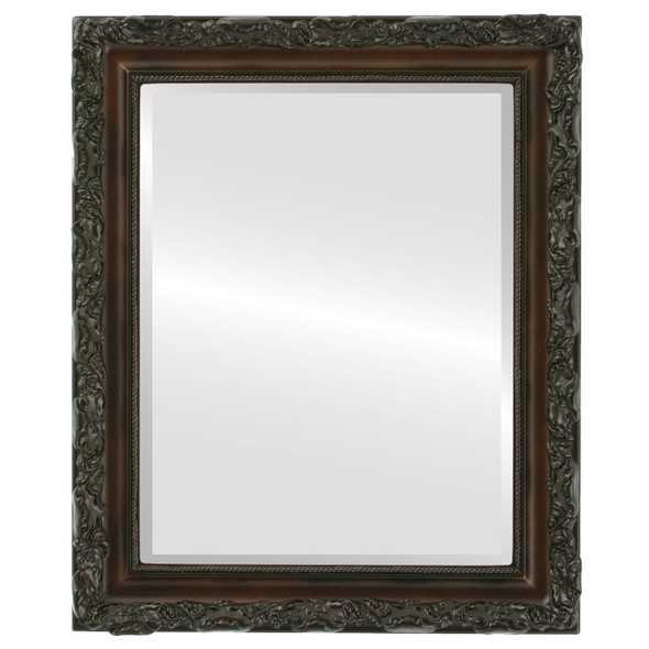 Beveled Mirror - Rome Rectangle Frame - Walnut