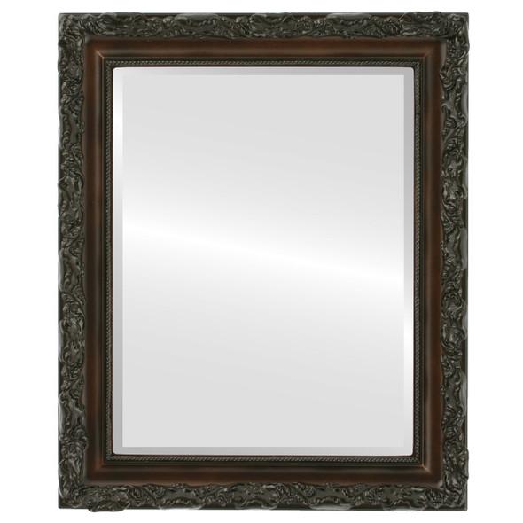 Beveled Mirror - Rome Rectangle Frame - Walnut
