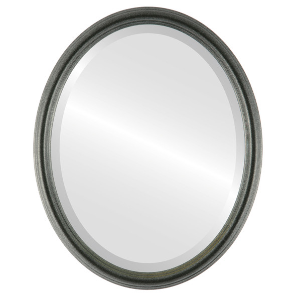 Beveled Mirror - Saratoga Oval Frame - Black Silver