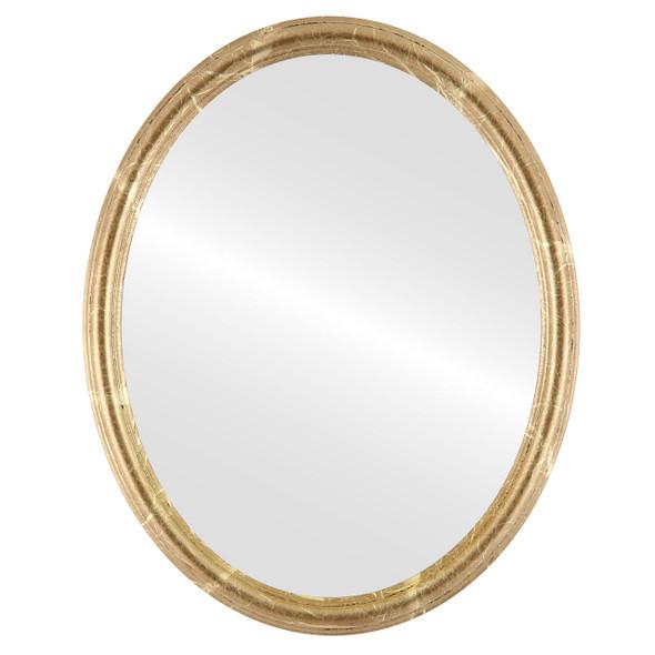 Flat Mirror - Saratoga Oval Frame - Champagne Gold