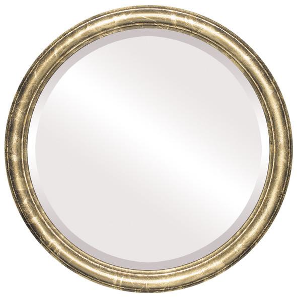 Beveled Mirror - Saratoga Round Frame - Champagne Gold