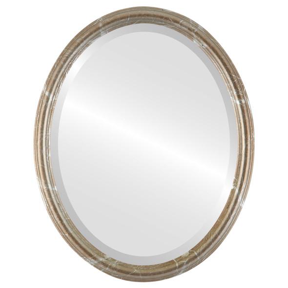 Beveled Mirror - Saratoga Oval Frame - Champagne Silver