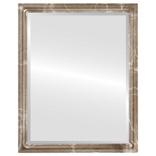 Beveled Mirror - Saratoga Rectangle Frame - Champagne Silver
