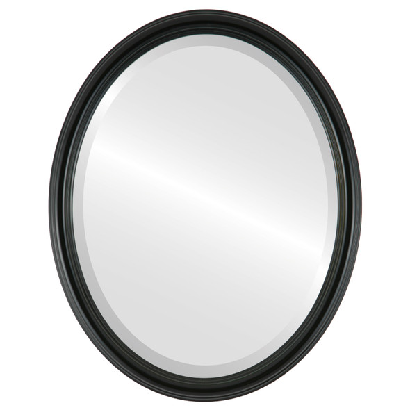 Beveled Mirror - Saratoga Oval Frame - Gloss Black