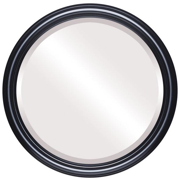 Beveled Mirror - Saratoga Round Frame - Gloss Black
