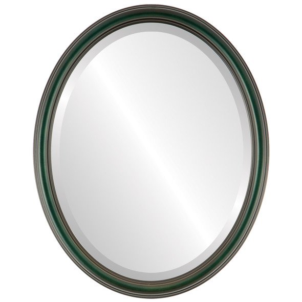 Beveled Mirror - Saratoga Oval Frame - Hunter Green