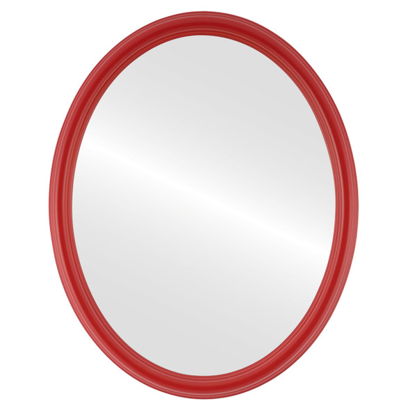 Flat Mirror - Saratoga Oval Frame - Holiday Red