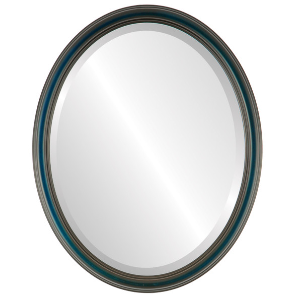 Beveled Mirror - Saratoga Oval Frame - Royal Blue