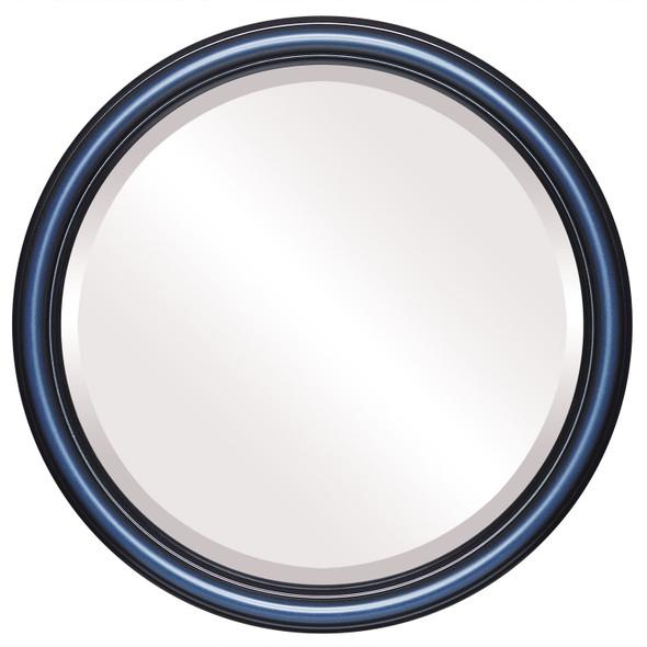Beveled Mirror - Saratoga Round Frame - Royal Blue