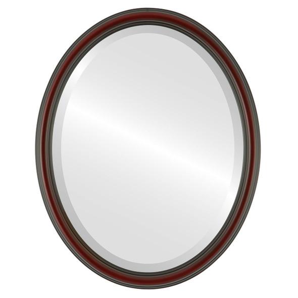 Beveled Mirror - Saratoga Oval Frame - Rosewood