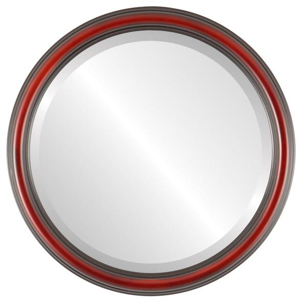 Beveled Mirror - Saratoga Round Frame - Rosewood