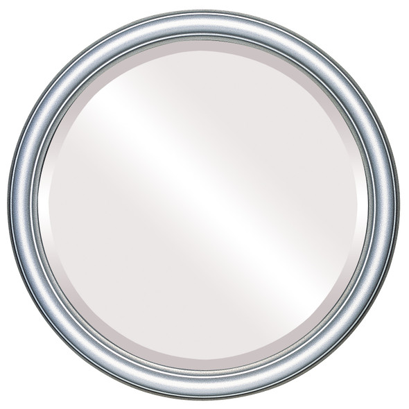 Beveled Mirror - Saratoga Round Frame - Silver Shade