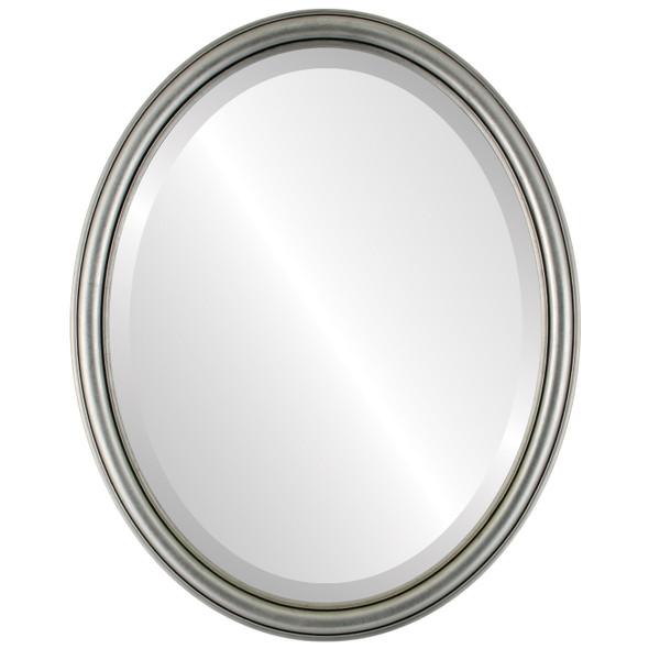 Beveled Mirror - Saratoga Oval Frame - Silver Leaf with Black Antique