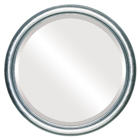Beveled Mirror - Saratoga Round Frame - Silver Leaf with Black Antique