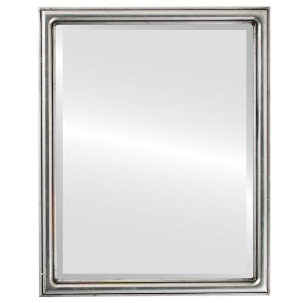 Beveled Mirror - Saratoga Rectangle Frame - Silver Leaf with Black Antique